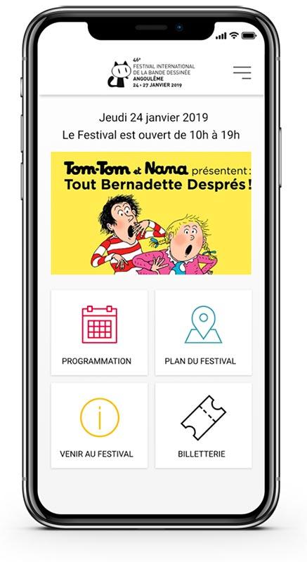 Application mobile du Festival international de la bande dessinée. Une réalisation idealcoms.