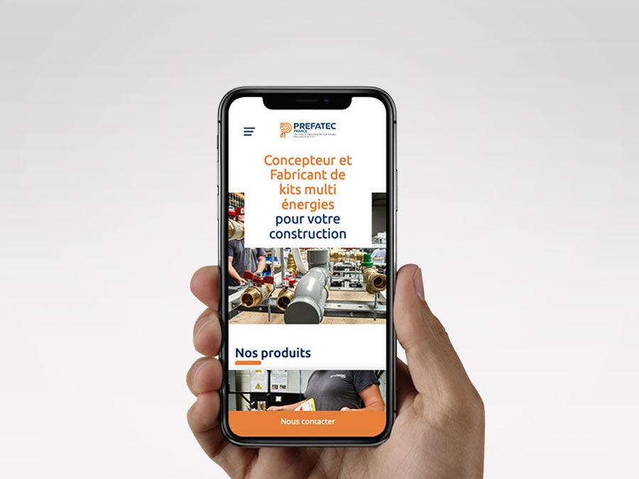 Nouveau site Prefatec france, version mobile. Une réalisation web idealcoms.
