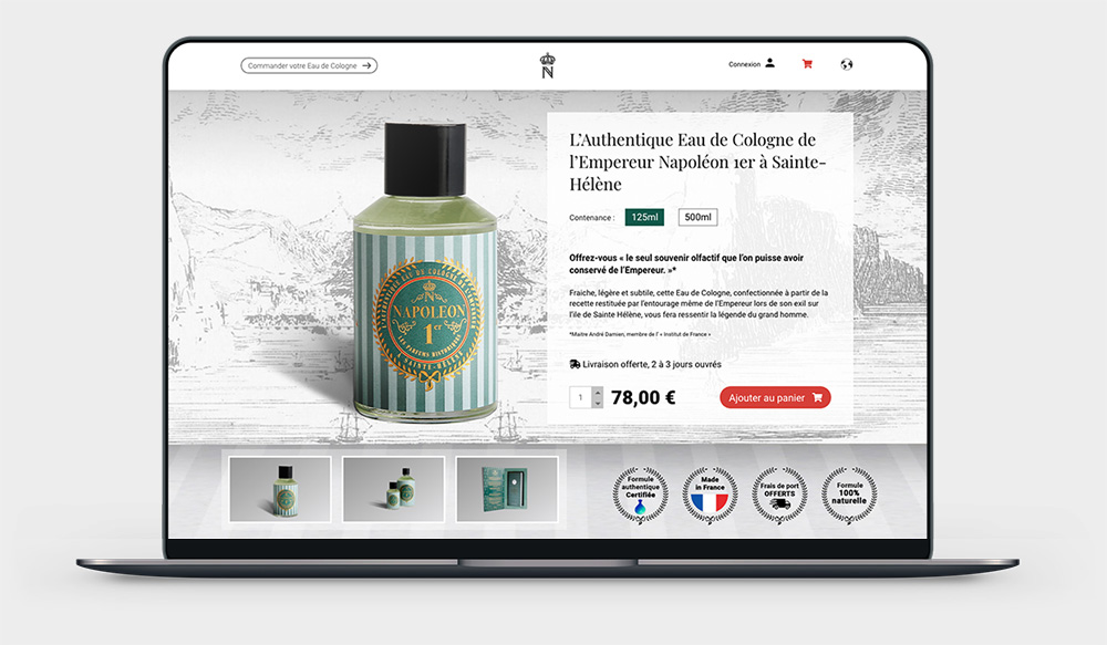 napoleon-cologne. fr : site e-commerce réalisé par idealcoms, agence web